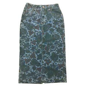 Dresses & Skirts - 90's Paisley Denim Jean High Waisted Skirt